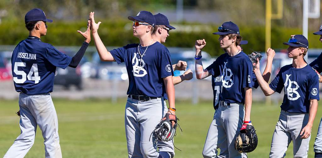 April 28, 2019, Victoria, BC - The Langley Blaze celebrate their second win of the day and ninth of the season after their 5-2 win over the Eagles on Sunday (Photo: Christian J. Stewart)