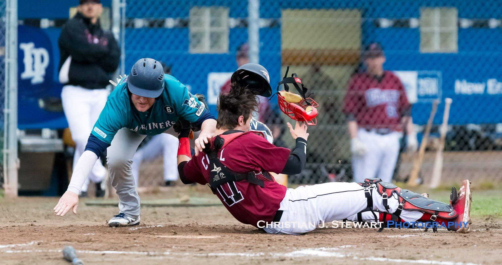 Victoria Eagles Catcher Jayden Cull would be bowled over by the Mariners' Bryce Franklin (17) on this play in the first inning Tuesday, but would hang on to the ball and make the tag to get the out at home (Photo: Christian J. Stewart)