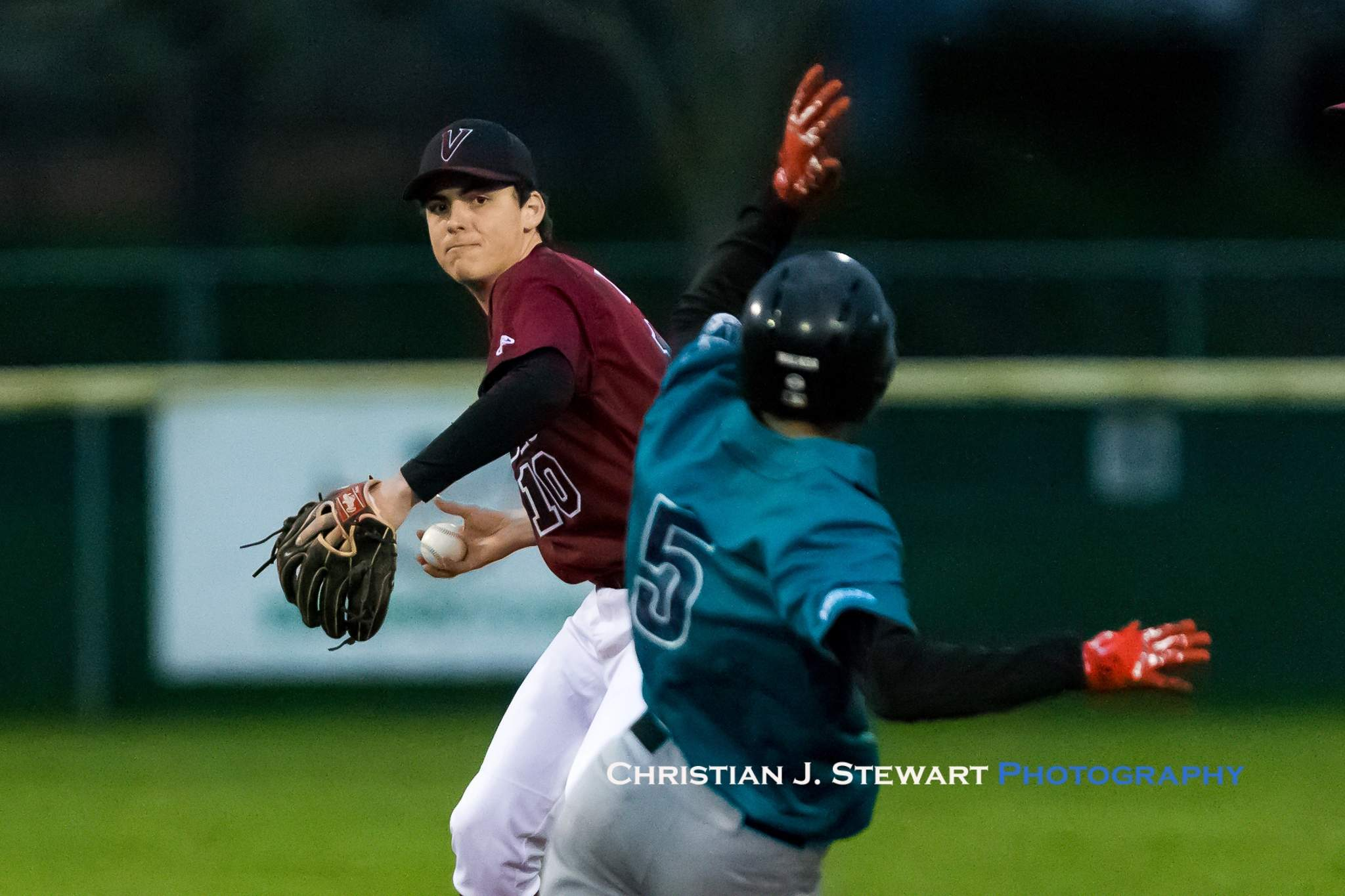 Victoria Eagles shortstop Jordon Bond prepares to throw to first while attempting a double play against the Mariners on Tuesday (Photo: Christian J. Stewart)