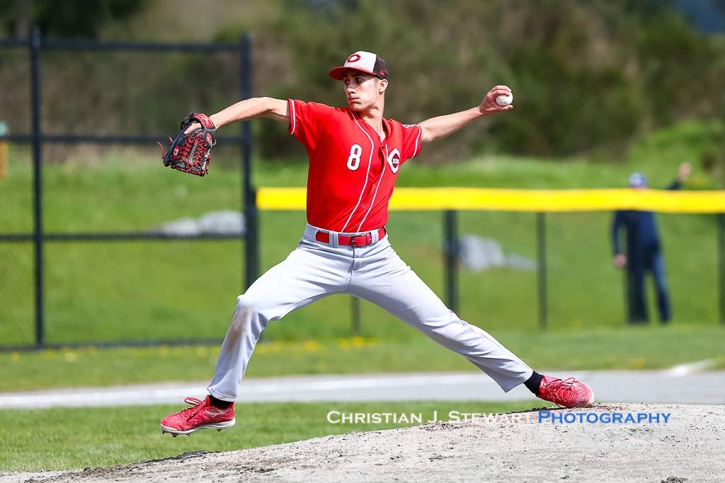 April 21, 2019, Victoria, BC - Sunday's game one starter Girodano Mezzamo (8) would get the 17-10 win over the Mariners, giving up just the two runs on one hit and four walks, while striking out 11 in his four full innings of work (Photo: Christian J. Stewart).