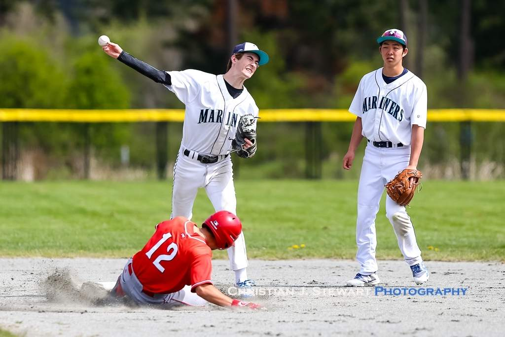 April 21, 2019, Victoria, BC - Mariners shortstop Mikhail Bondoreff attepts to turn the double play against  the Reds on Sunday (Photo: Christian J. Stewart)