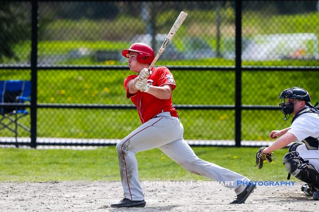 April 21, 2019, Victoria, BC - The Reds Cassidy Watt would have a four-hit, four-RBI game in game one Sunday, including this bases-clearing 3-RBI triple (Photo: Christian J. Stewart)