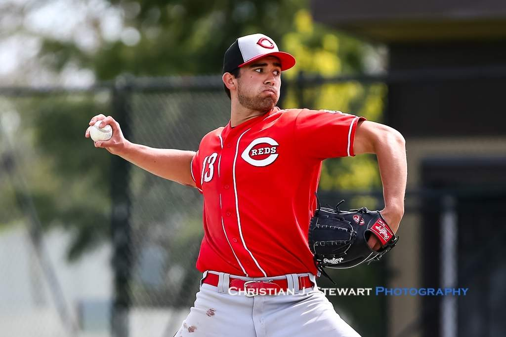 April 21, 2019, Victoria, BC - The Reds Ben Grant would come on in relief in each of the final innings against the Mariners on Sunday (Photo: Christian J. Stewart)