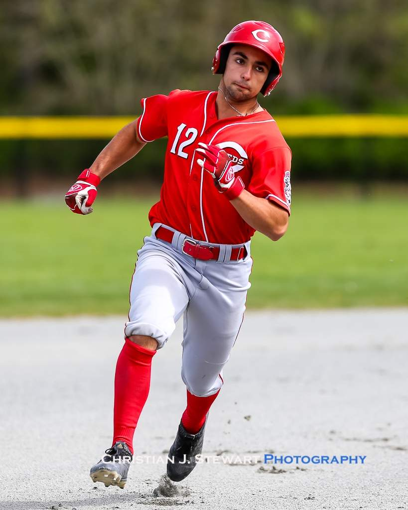 April 21, 2019, Victoria, BC - The Red's Luciano Letteri was one of four Reds hitters to come away from the weekend hitting above .400, including a three-hit game Sunday afternoon against the Mariners (Photo: Christian J. Stewart)