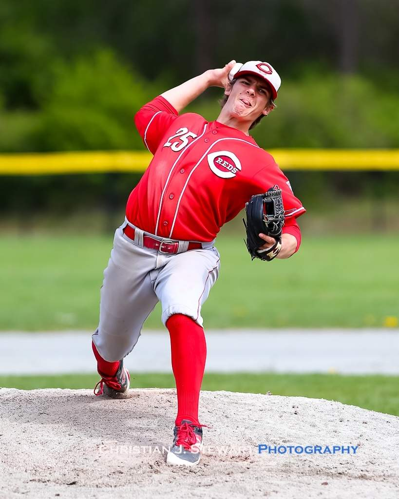 April 21, 2019, Victoria, BC - The Reds Jack Yaremko got the start in game two Sunday, giving up three runs on two hits and five walks, while striking out six in his 3.2 innings of work (Photo: Christian J. Stewart)