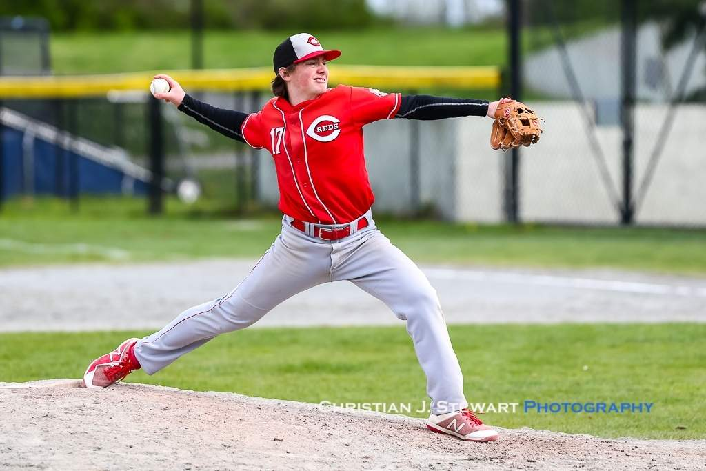 April 21, 2019, Victoria, BC - The Reds Will Ireland, normally an infielder, was effective in relief in game two against the Mariners Sunday, earning the win and striking out six in his 2.2 innings of relief (Photo: Christian J. Stewart)
