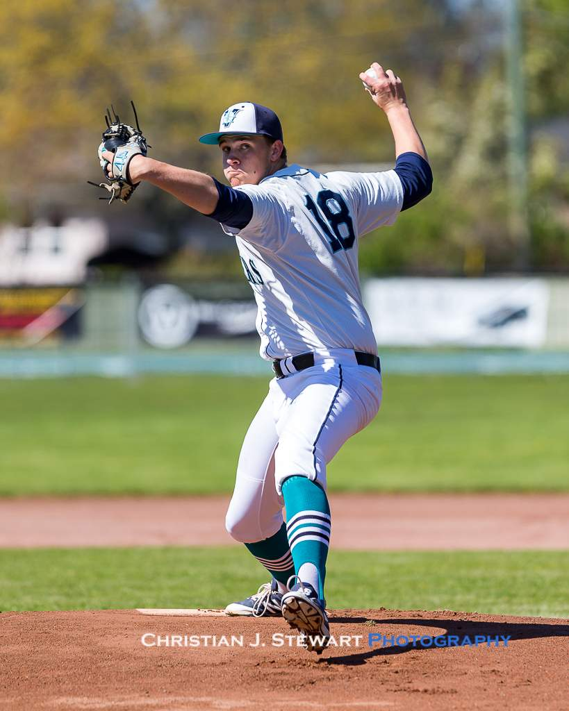 April 28, 2019, Victoria, BC - Victoria Mariners starter Zach Fletcher would have a rough outing against the Twins on Sunday (Photo: Christian J. Stewart)