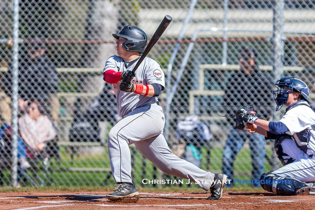 April 28, 2019, Victoria, BC - North Shore Twins slugger Blake Dalla-Zanna would have a three-hit, seven RBI day in the two wins against the Mariners on Sunday (Photo: Christian J. Stewart)