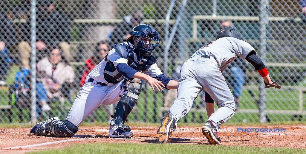April 28, 2019, Victoria, BC - In a rare defensive highlight of the game, Mariners catcher Tyson Skinner tags out Twins baserunner Ewan Bosch on this play at the plate in the Twins 14-1 win (Photo: Christian J. Stewart)