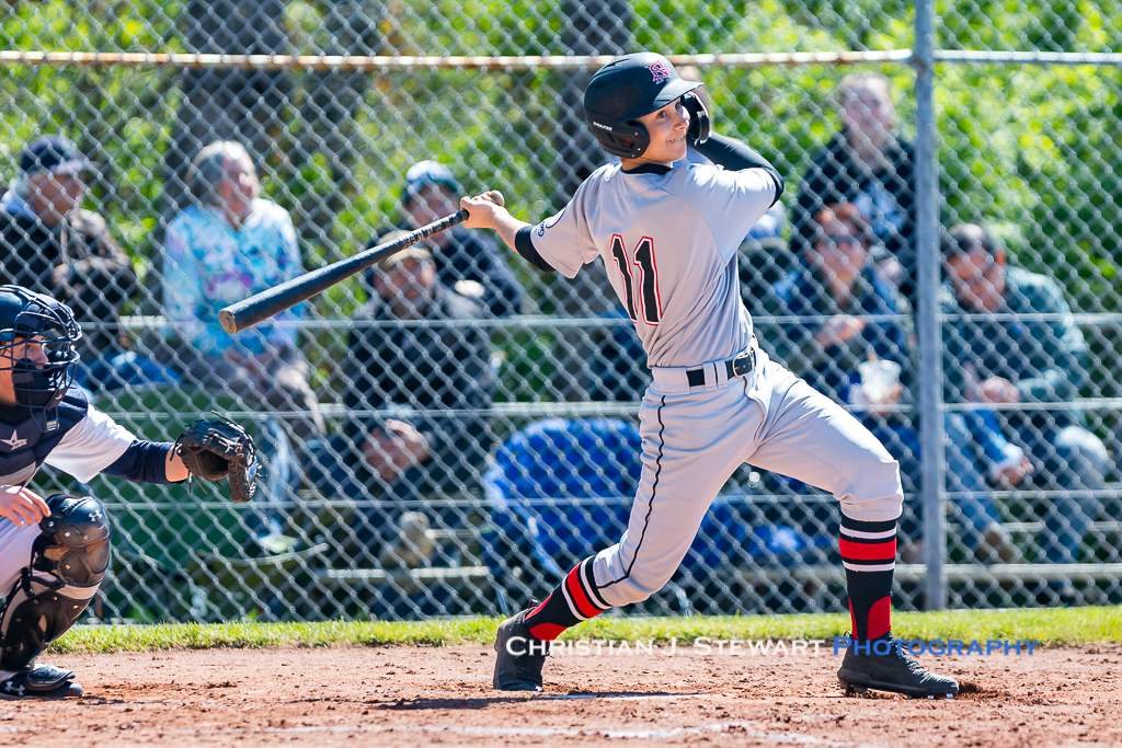 April 28, 2019, Victoria, BC - The Twin's Fenton Ius would have a pair of hits, pair of RBI and two runs scored in the two wins over the Mariners on Sunday (Photo: Christian J. Stewart)