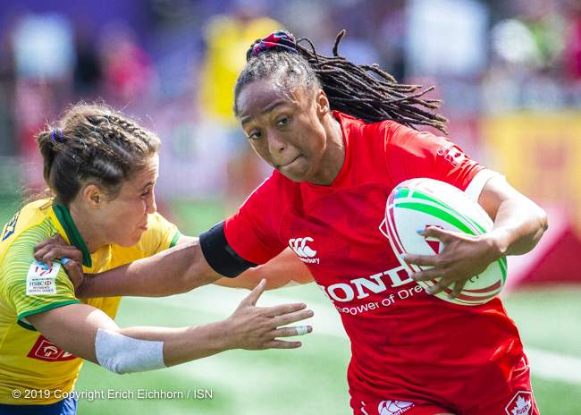 May 11th, 2019 Langford, BC (ISN) - Canada would benefit from two trys from  Charity Williams to lift Canada over Brazil in opening game pool play  - Erich Eichhorn image (www.allsportmedia.ca)