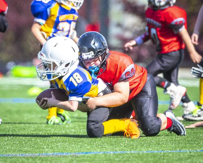 May 4th, 2019 Victoria, BC (SN) - Warrior defence was key to keeping Nanaimo off the score sheet in both the Atom and Peewee division games - Erich Eichhorn image ( www.allsportmedia.ca)
