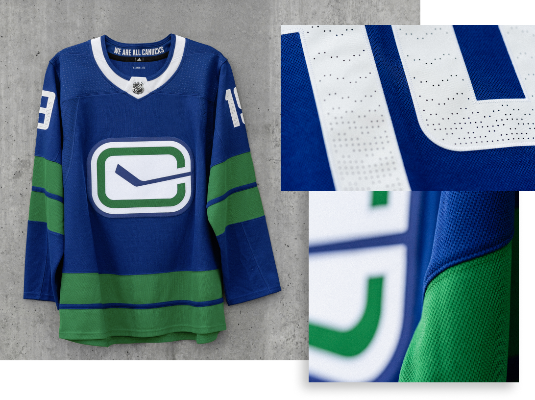 HERITAGE JERSEY   Acknowledging our history, while looking forward to a new era, the Heritage jersey features a modern stylized take on the Stick and Rink mark worn during our inaugural season in 1970.71. Representing the rain, the perforations in the numbers depict a defining characteristic of life on the West Coast, and our home.