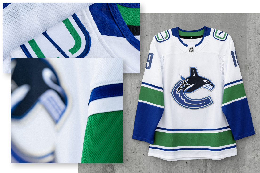 AWAY JERSEY   Replicating the Home jersey, the Away jersey features a modernized take on the traditional Orca jersey, absent the Vancouver word mark. Shoulder patches remain white to further enforce a simplified identity, while also indicative of the ice surface in the Stick and Rink mark.