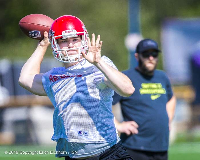July 13,2019 Victoria, BC (ISN) - QB Colby Henkel of the Westshore Rebels - Erich Eichhorn photo (www.allsportmedia.ca)