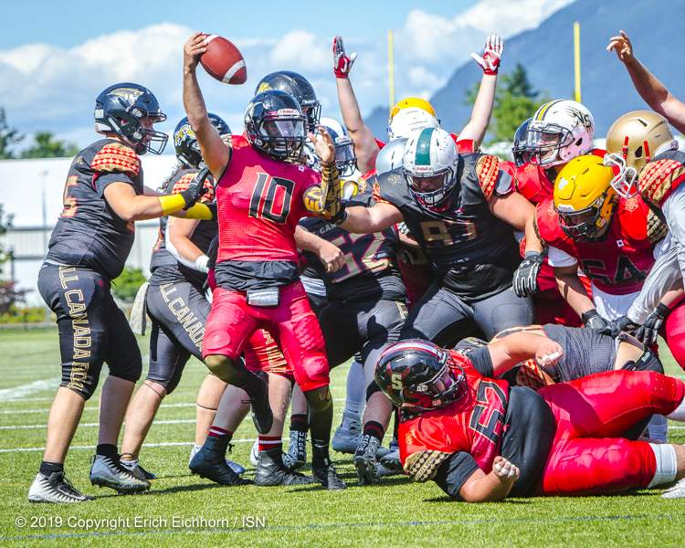 July 22, 2019 (ISN) - The West's lead would be short-lived as the East would reply on the next possession - Erich Eichhorn image (www.allsportmedia.ca)