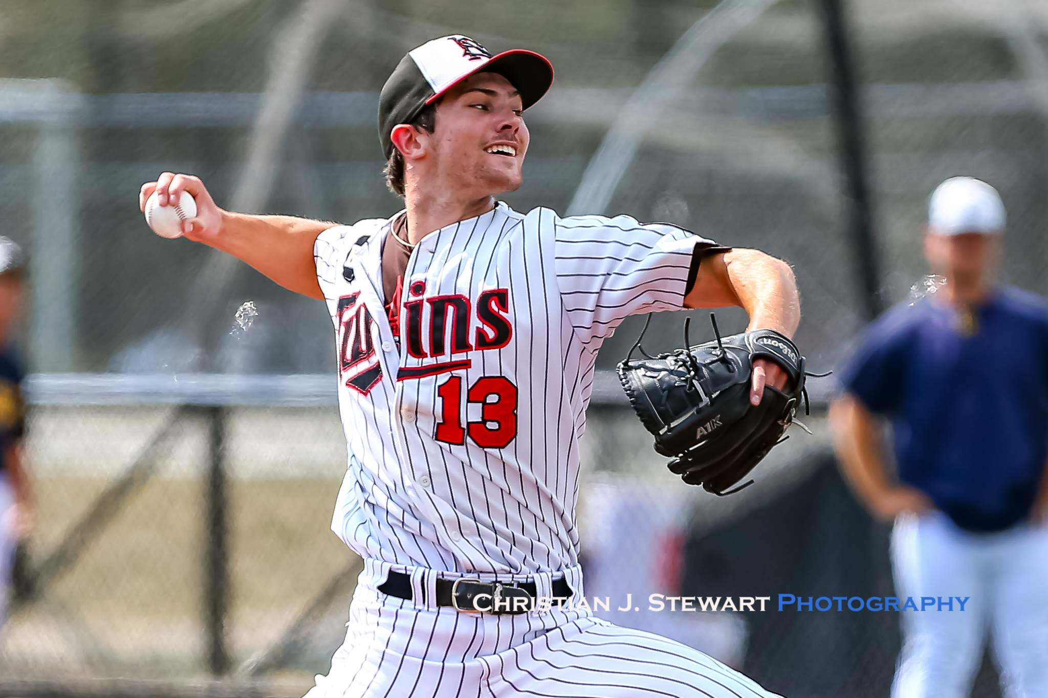Adam Maier pitched a three-hit, complete game shut out to lead the North Shore Twins to a 5-0 win over the Langley Blaze Friday in Vancouver (Photo: Christian J. Stewart)