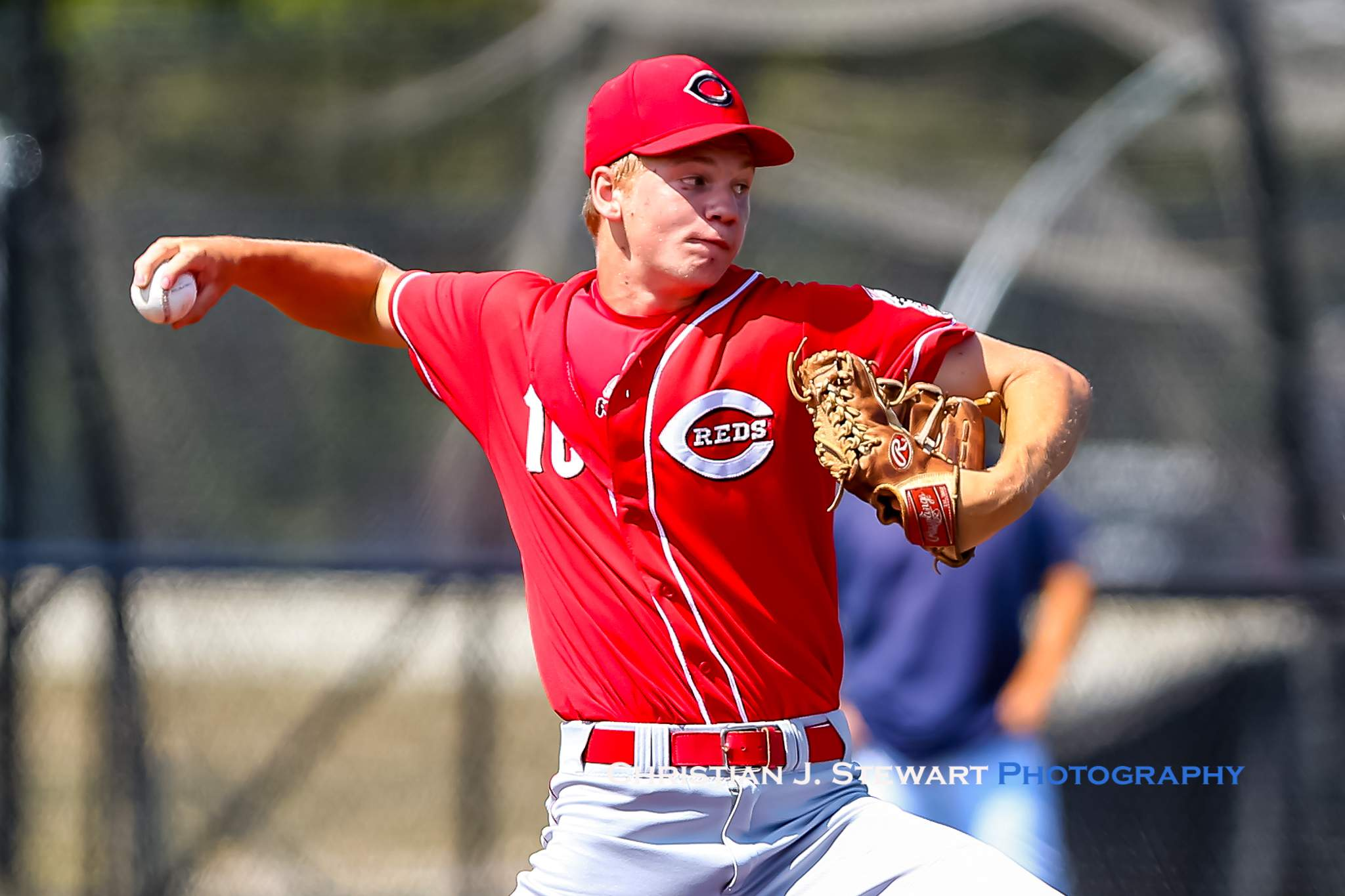 The Reds Jack Seward threw a complete-game four-hitter to defeat Langley 5-2 Saturday afternoon (Photo: Christian J. Stewart)