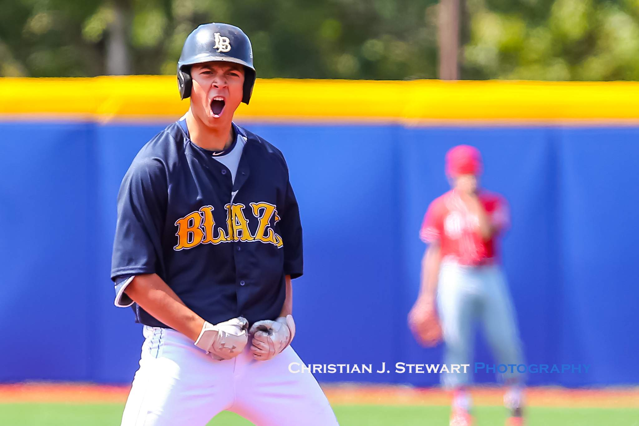 Langley's Justin Thorsteinson celebrates his two-RBI double that gave the Blaze and early lead Saturday (Photo: Christian J. Stewart)