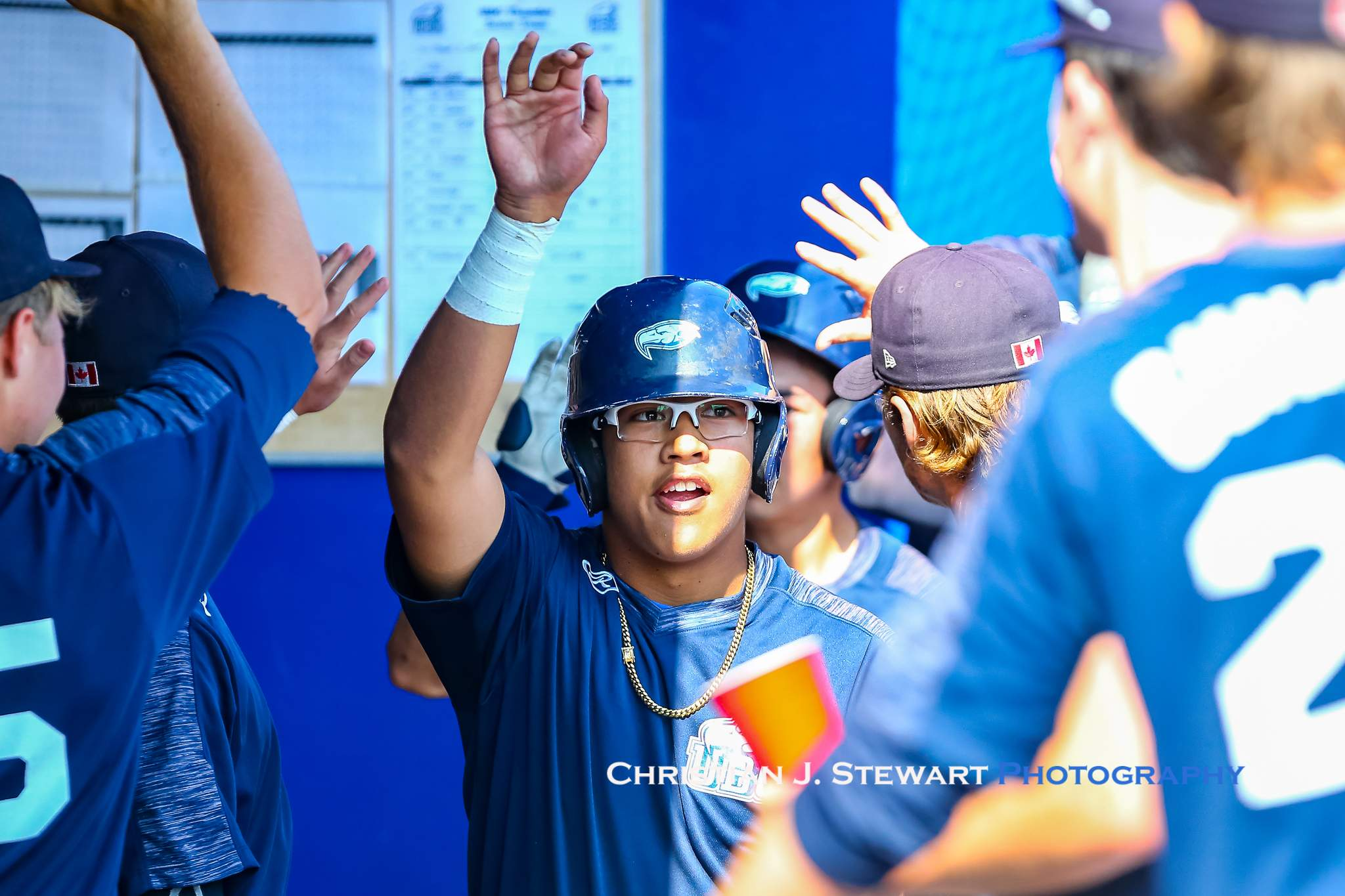 UBC's Vic Domingo gets high fives after scoring one of the Thunder's runs Sunday (Photo: Christian J. Stewart)