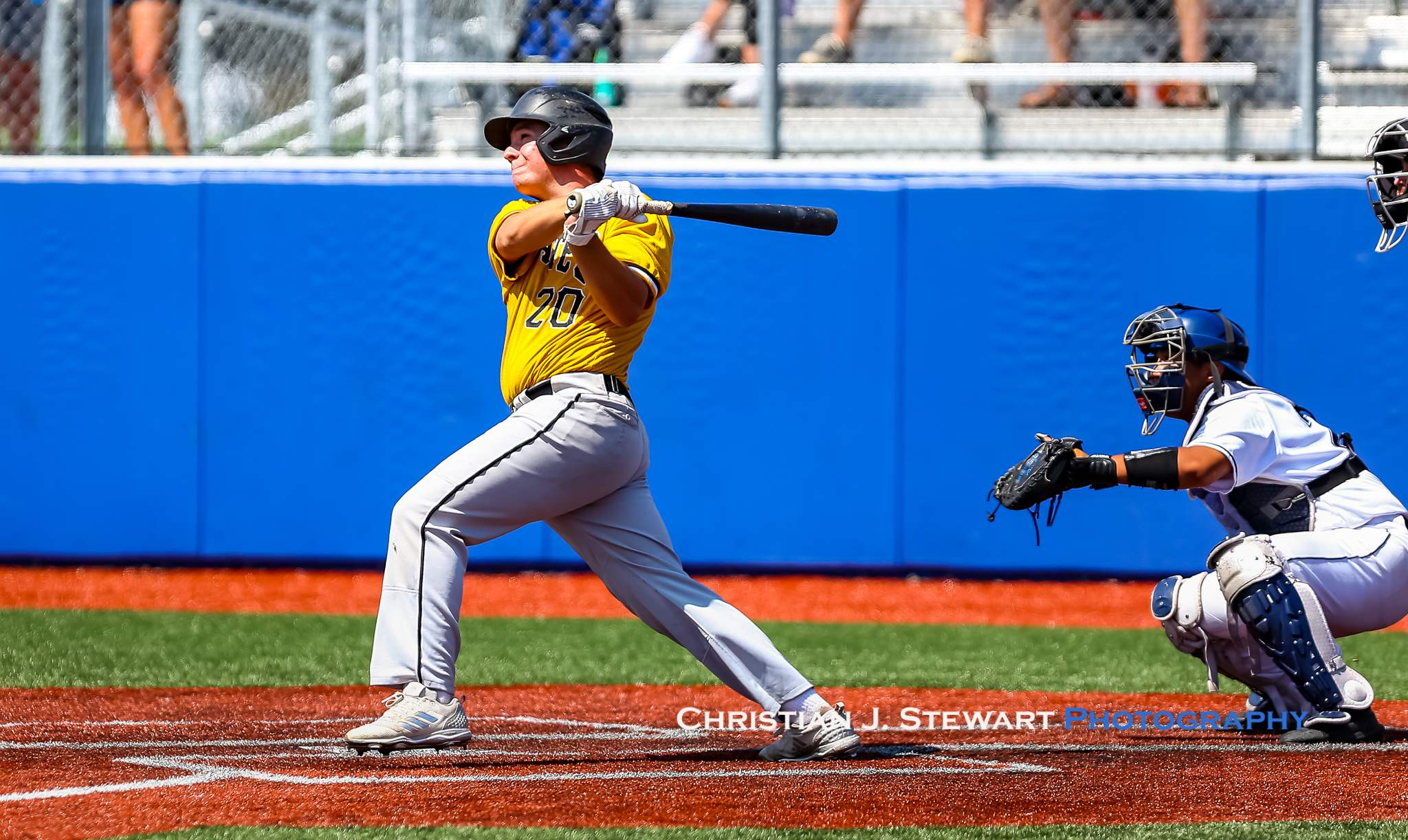 Mid-Island Pirates Brody Deverill strokes the game winning hit in the bottom of the seventh inning against UBC (Photo: Christian J. Stewart)