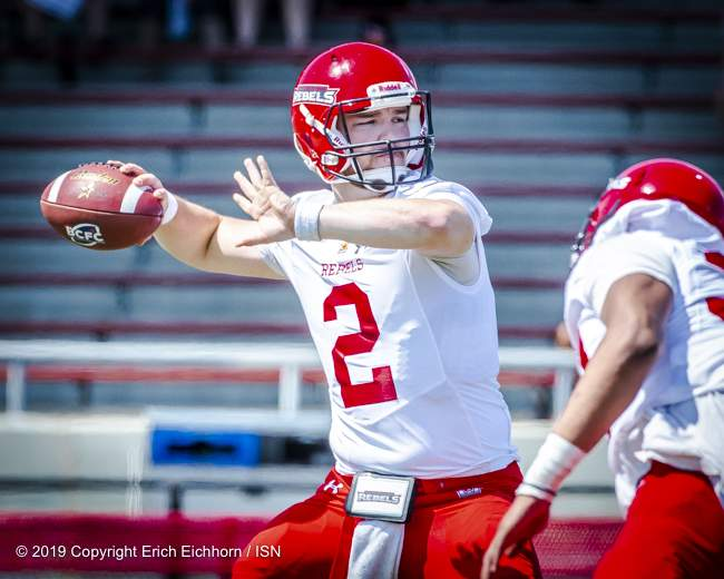 August 4th, 2019 Chilliwack, BC (ISN) - File Photo -Rebels 's QB Colby Henkel would have concerns with the Husker defensive pressure over 3 quarters of play - Erich Eichhorn image ( www.allsportmedia.ca )