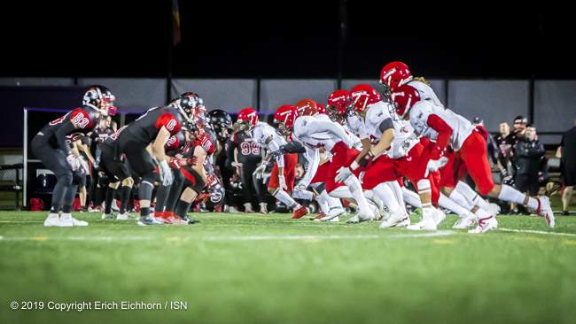 August 10, 2019 Victoria, BC (ISN) - Rebels' vs Raiders in a classic match up - Erich Eichhorn ( www.allsportmedia.ca)