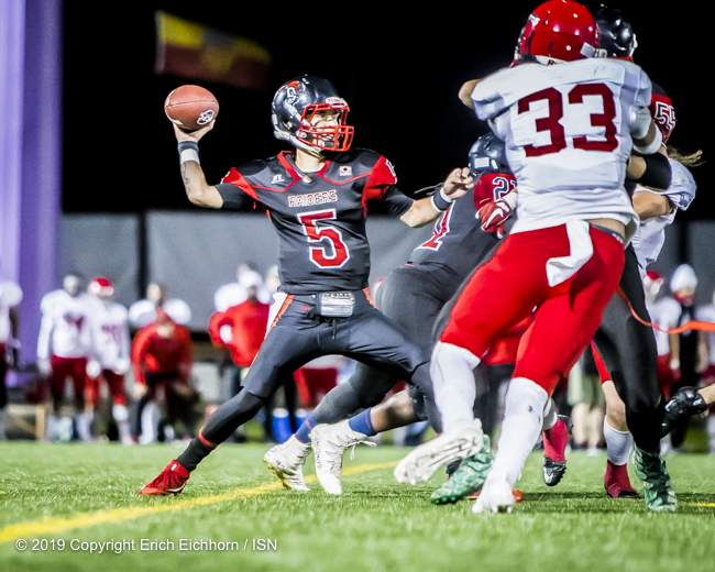 August 10, 2019 Victoria, BC (ISN) - Raider's back up QB Cole MacGarvey was dangerous in the air and on the ground late to keep the pressure on the Rebels' defence - Erich Eichhorn ( www.allsportmedia.ca)