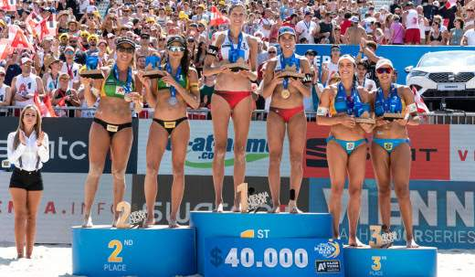 Beach volleyball World Champions Melissa Humana-Paredes and Sarah Pavan