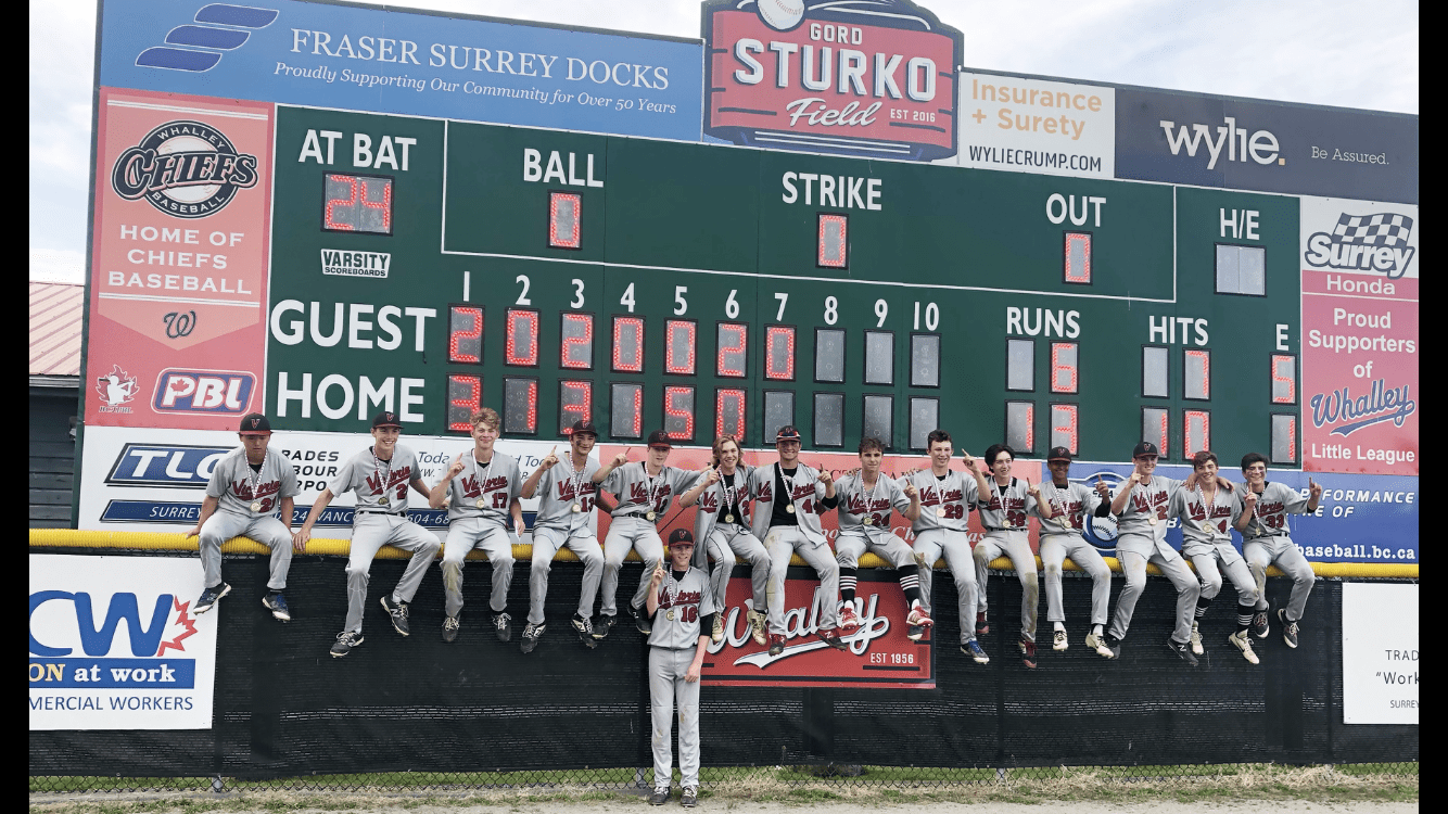 The Junior Premier Eagles pose in front of the scoreboard after their 13-6 win over the North Delta Blue Jays (Photo: Barb Cull)