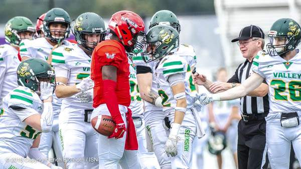 Septmber 16, 2019. Victoria, BC (ISN) - Tension would run high in the second half as players square off. - Erich Eichhorn (www.allsportmedia.ca)