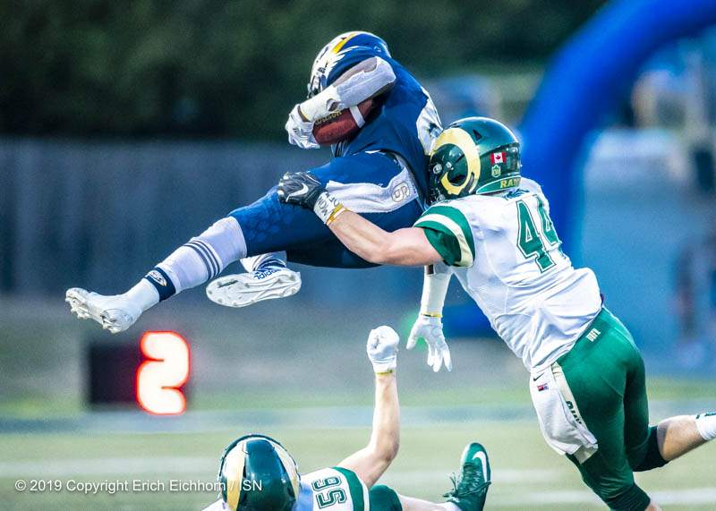 "August 31, 2019. Vancouver, BC (ISN) -  A ""no quit"" defence would hold UBC.  - Erich Eichhorn image (www.allsportmedia.ca)"