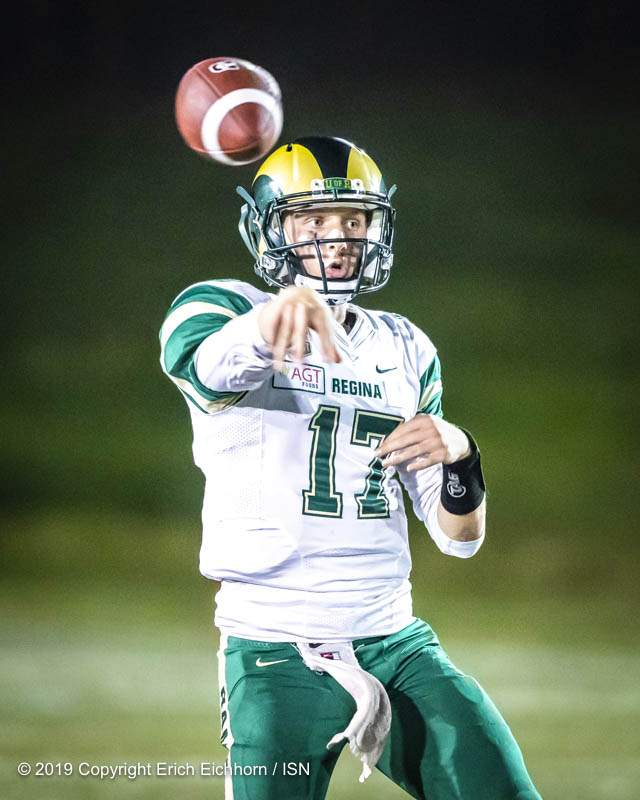 August 31, 2019. Vancouver, BC (ISN) -  Rams'  QB Josh Donnelly would throw 377 yards in his opening CIS debut.   - Erich Eichhorn image (www.allsportmedia.ca)