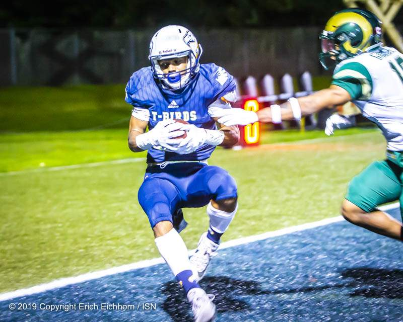 August 31, 2019. Vancouver, BC (ISN) -  UBC's Jacob Patten pulls down the nineteen yard Yanchuck pass for the TD  - Erich Eichhorn image (www.allsportmedia.ca)