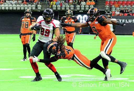 BC Lions vs Red Blacks BC Place Sept 13, 2019 Copyright Simon Fearn ISN