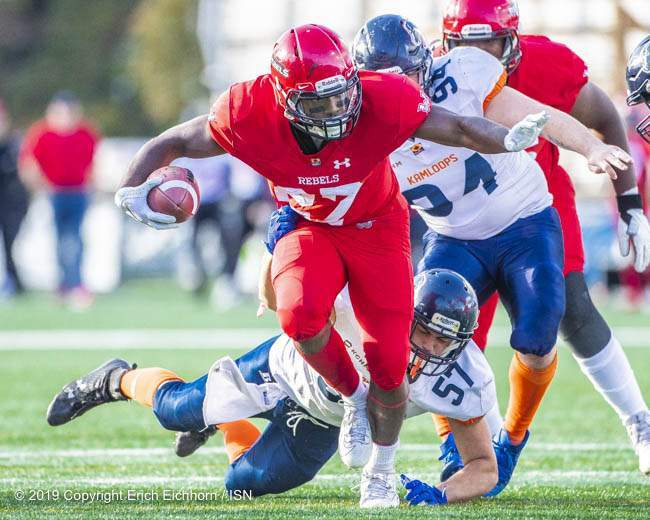 October 5, 2019 Victoria, BC (ISN) - Rebel's Zachary Lubin would run through the Bronco defence in the first half for two of his three Td's in the game -Erich Eichhorn (www.allsportmedia.ca)