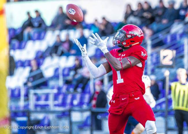 October 5, 2019 Victoria, BC (ISN) - Rebel's reciever Nathan Falito would catch this ball and run it in for a TD - Erich Eichhorn (www.allsportmedia.ca)