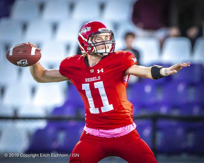 October 5, 2019 Victoria, BC (ISN) - Receiver turned back up QB showed his throwing touch with a 57 yard TD toss to end the game - Erich Eichhorn (www.allsportmedia.ca)