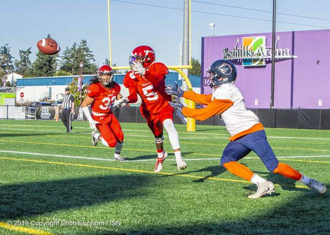 October 5, 2019 Victoria, BC (ISN) - Rebel Maleek Womack picks of this Nice pass for one of three interceptions in the game - Erich Eichhorn (www.allsportmedia.ca)
