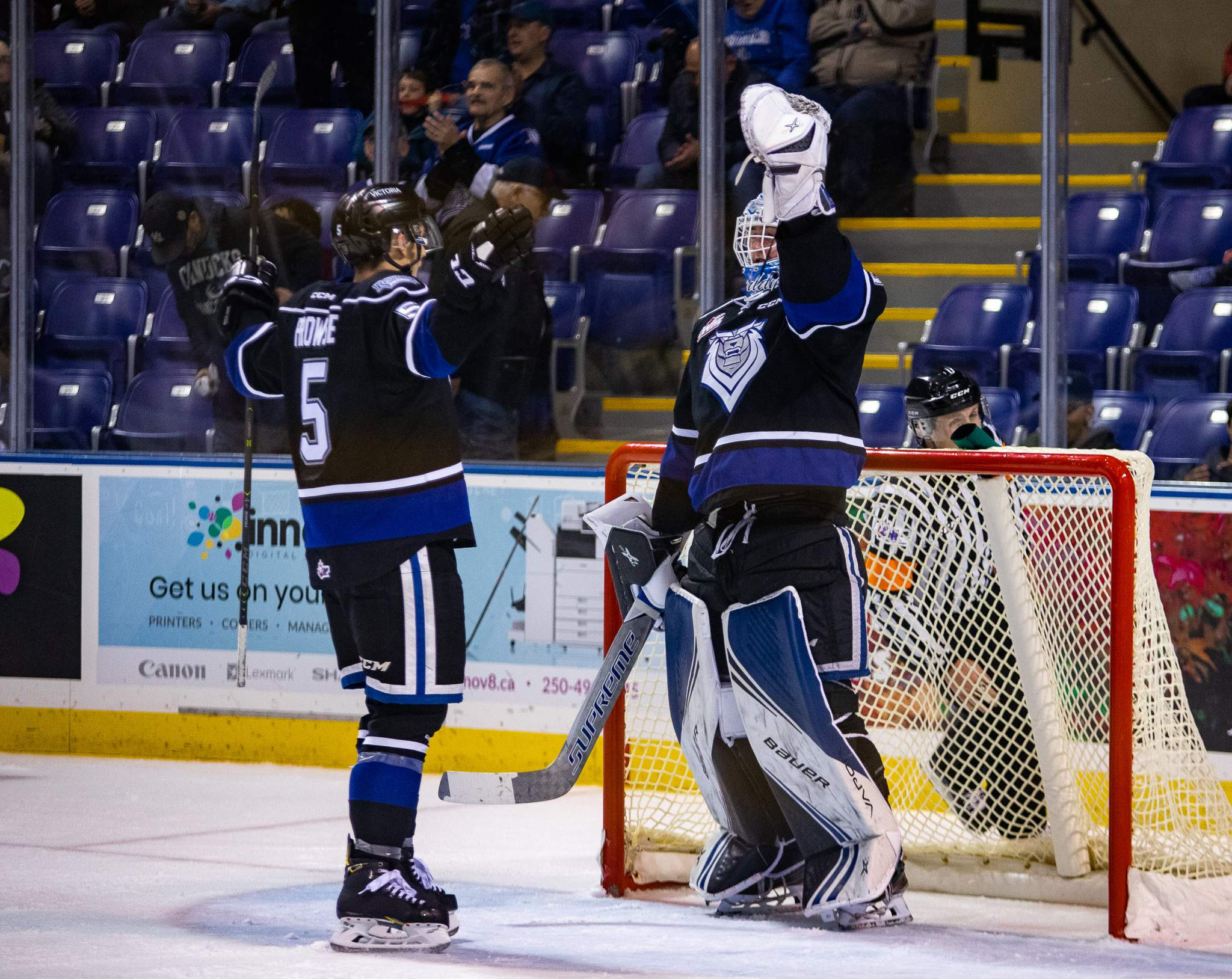 Goaltender Brock Gould celebrates after getting his first WHL shutout. Photo by Nathanael Laranjeiras