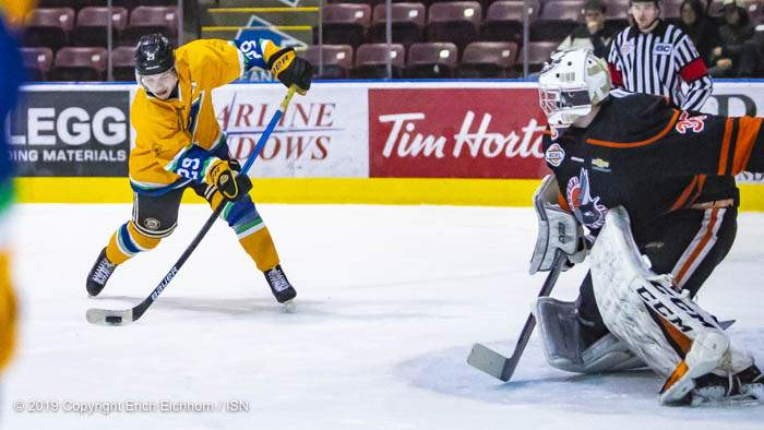 December 14, 2019. Victoria, BC (ISN) - Victoria's Brendan Bowie gets a point blank chance net but was unable to convert for the goal but would tally two assists on the evening - Erich Eichhorn (www.allsportmedia.ca)