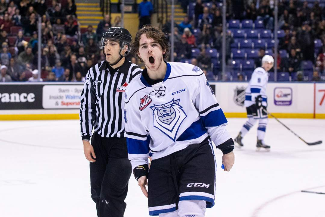 Royals' Brayden Tracey yells after knocking out Blazers' Ryan Hughes. Photo by Nathanael Laranjeiras