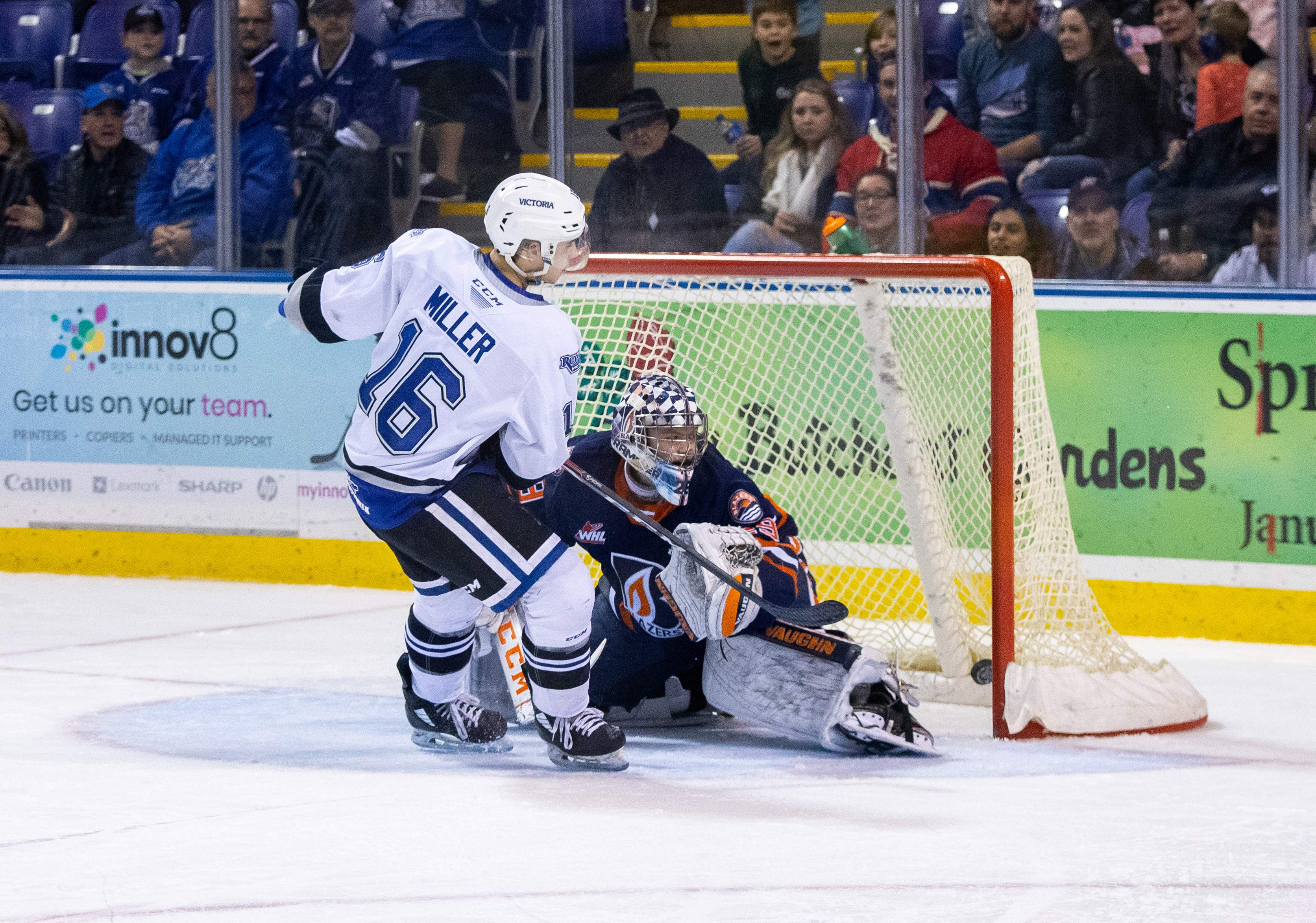 Carson Miller nets the penalty shot to give the Royals a 3-0 lead. Photo by Nathanael Laranjeiras