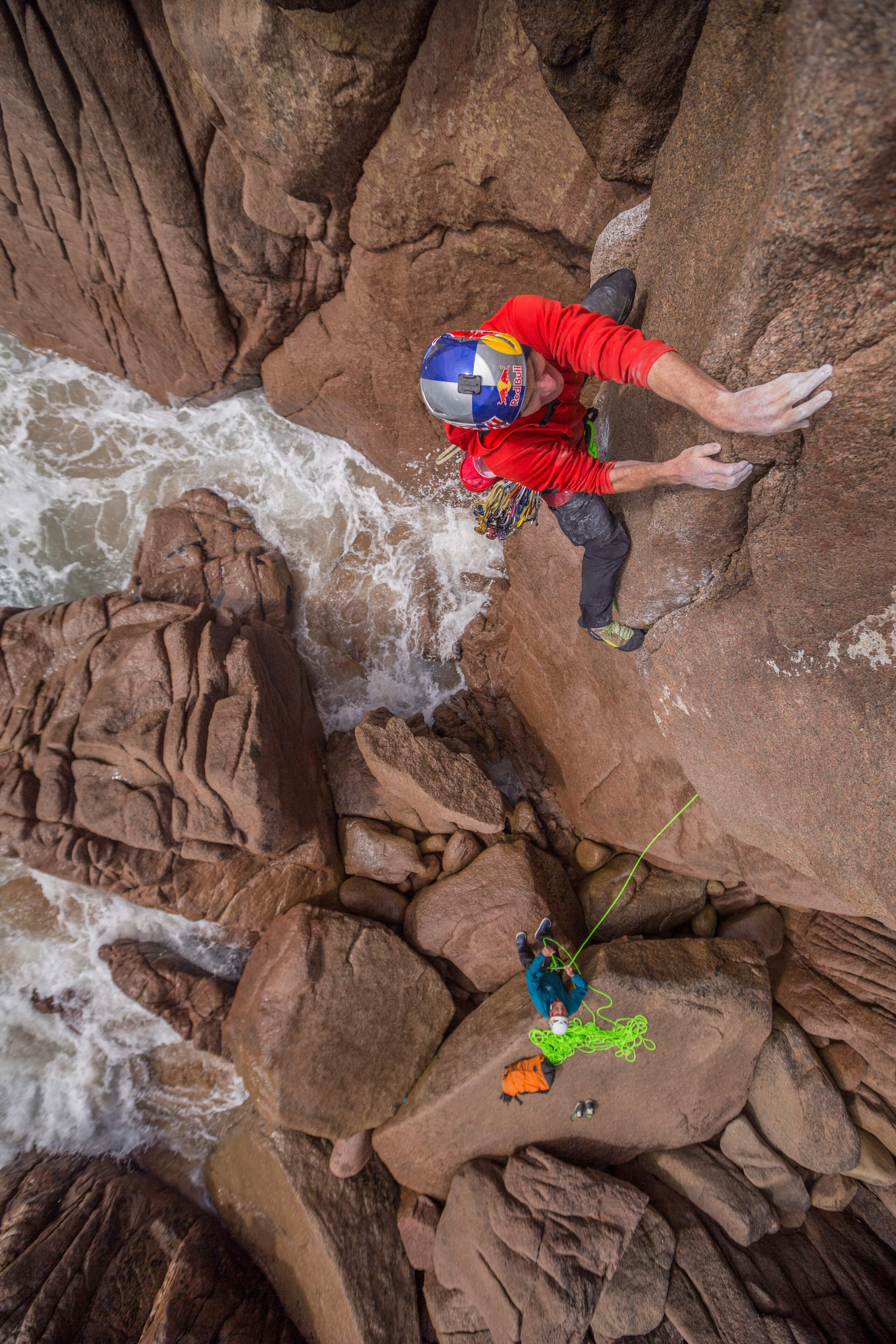 undefined John Price / Red Bull Content Pool Will Gadd climbs new routes on Irish sea stacks in Donegal, Ireland, on 23 March, 2020.John Price / Red Bull Content Pool