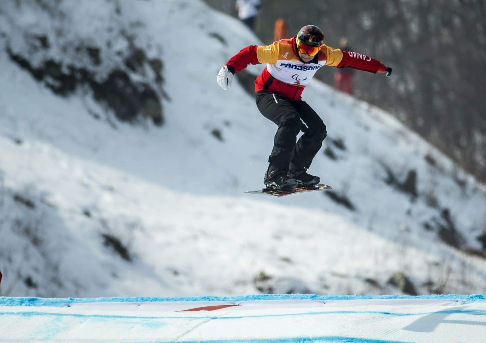 First one to drop into the 2018 Paralympic Snowboardcross course to open the Upper Limb category in Pyeongchang