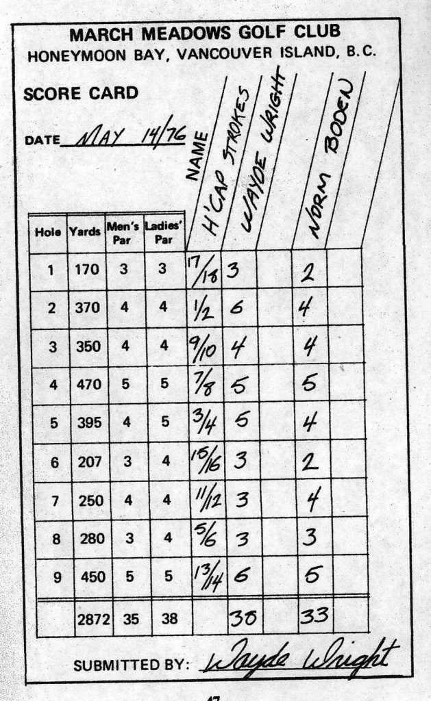 Scorecard from 1976 with Norm Boden's score 33.