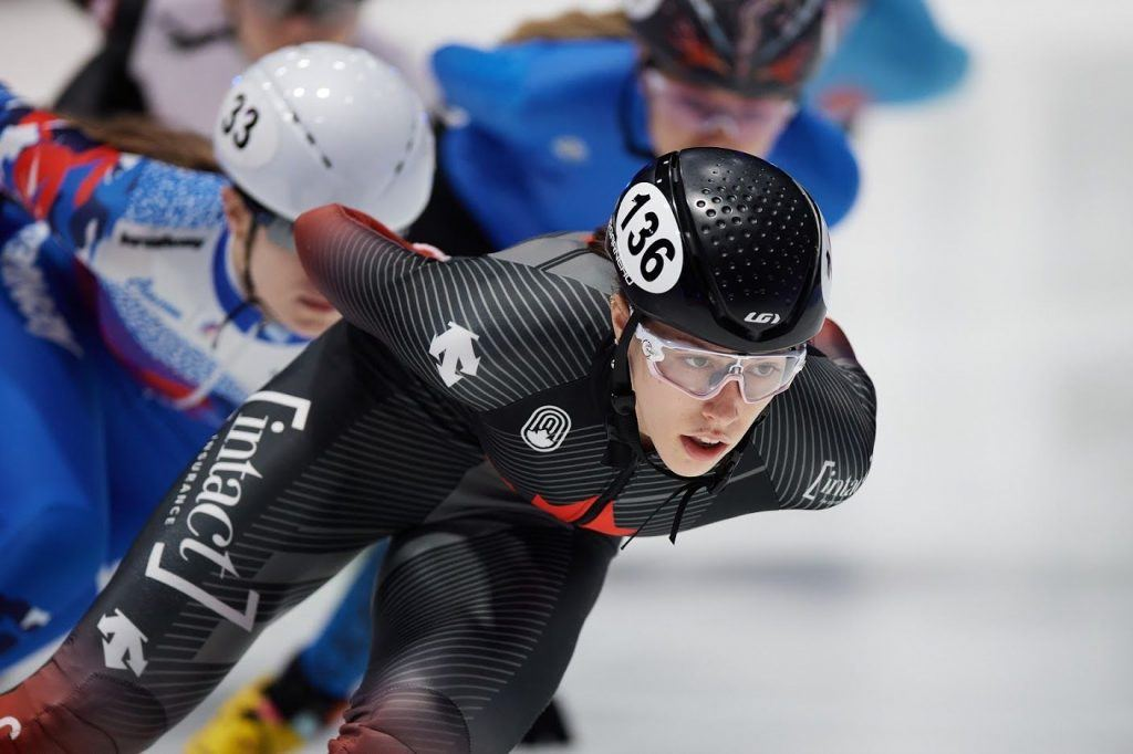 DORDRECHT, NETHERLANDS, Mar 05: Florence Brunelle of Canada competes in the Ladies 1500m during the ISU World Short Track Speed Skating Championships on March 05, 2021 in Dordrecht, Netherlands.(Photo by Rafal Oleksiewicz/Speed Skating Canada)
