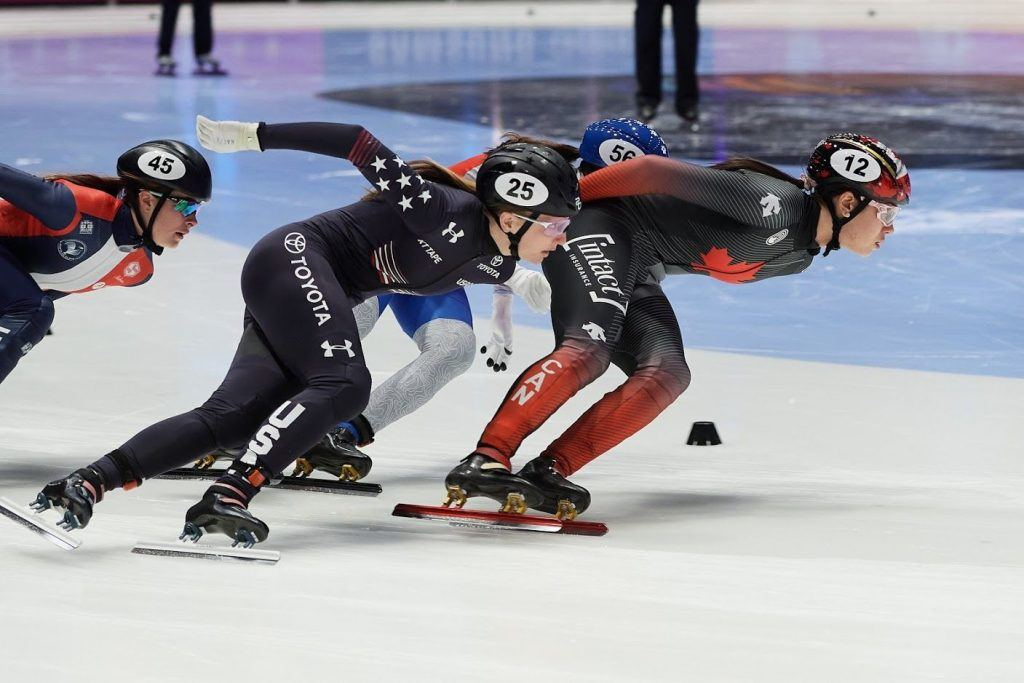 DORDRECHT, NETHERLANDS, Mar 05: Courtney Sarault of Canada competes in the Ladies 1500m during the ISU World Short Track Speed Skating Championships on March 05, 2021 in Dordrecht, Netherlands.(Photo by Rafal Oleksiewicz/Speed Skating Canada)