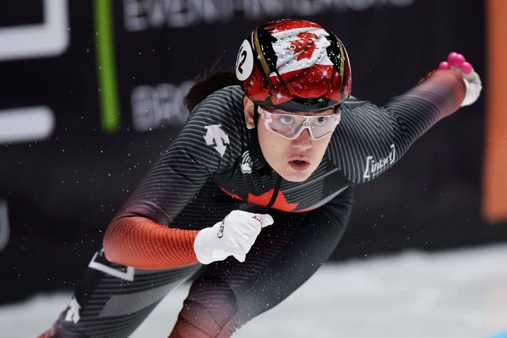 DORDRECHT, NETHERLANDS, Mar 05: Courtney Sarault of Canada competes in the Ladies 500m during the ISU World Short Track Speed Skating Championships on March 05, 2021 in Dordrecht, Netherlands.(Photo by Rafal Oleksiewicz/Speed Skating Canada)