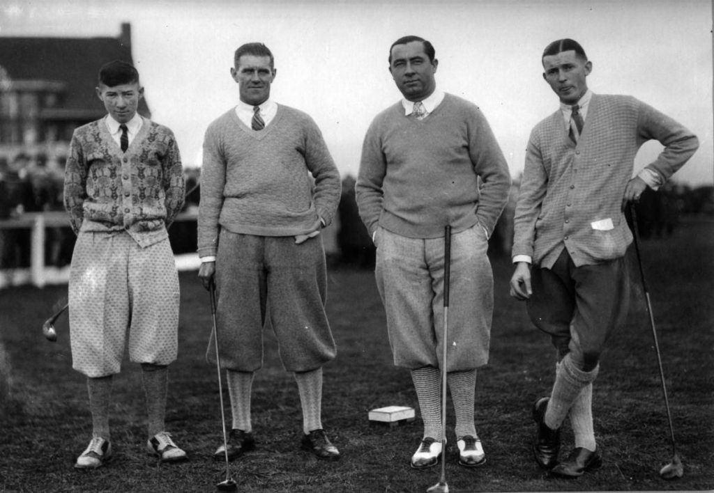Walter Hagen Exhibition at the Langara Golf Links December 2nd, 1926 L to R Charlie McCadden Nat Cornfoot Walter Hagen Roy Herne